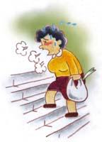 階段を上ると息切れがするBさんの場合イラスト