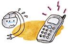 携帯電話に注意・イラスト